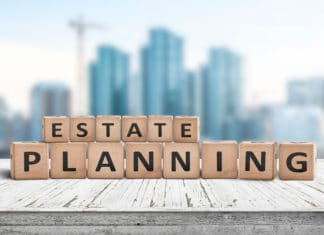 Estate Planning Wooden Plank City Skyscape Background