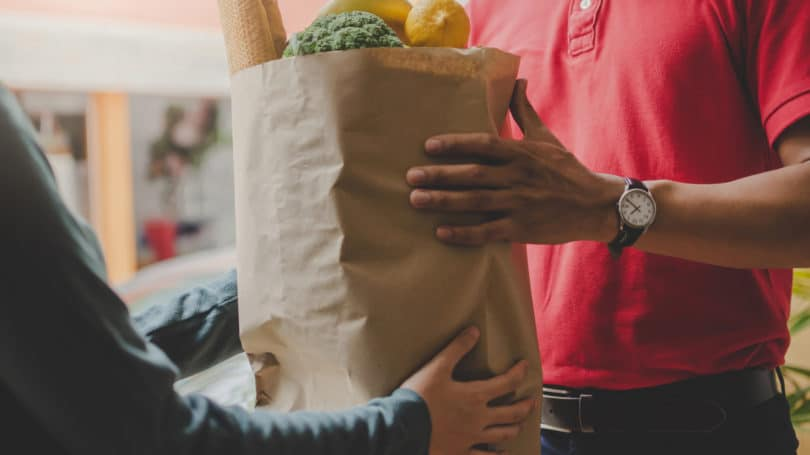 Grocery Delivery Paper Bag Red Uniform Produce Online Shopping