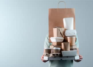 Man Carrying Various Cardboard Paper Containers Pizza Soup Coffee