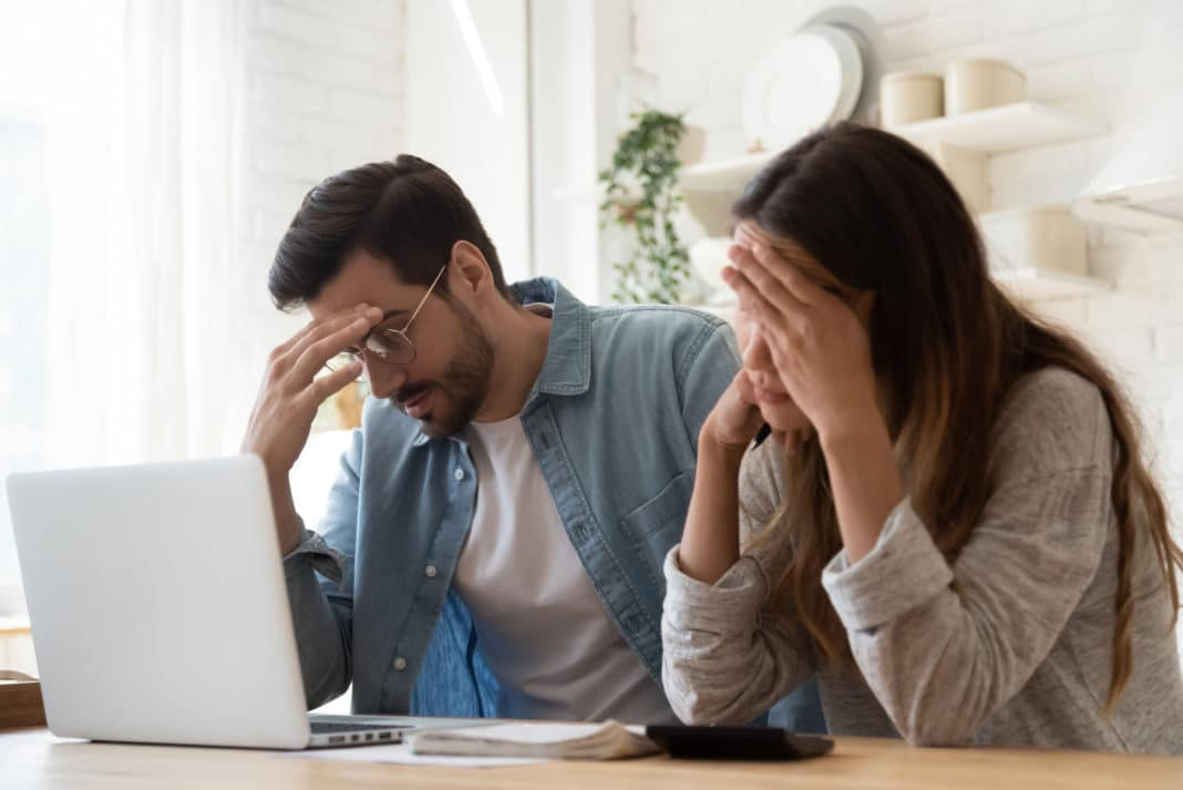 Man Woman Couple Stressed About Bills Mortgage
