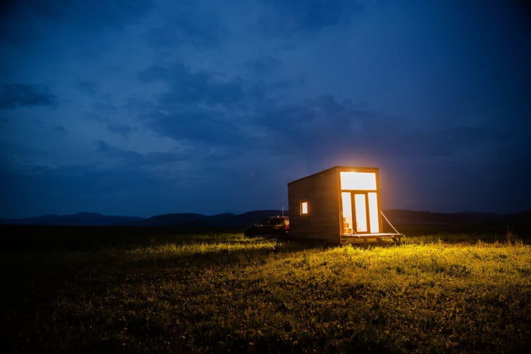 Mobile Tiny Home Outdoors Night Time