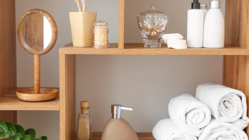 Organized Bathroom Shampoo Soap Lotion Handwash Towels