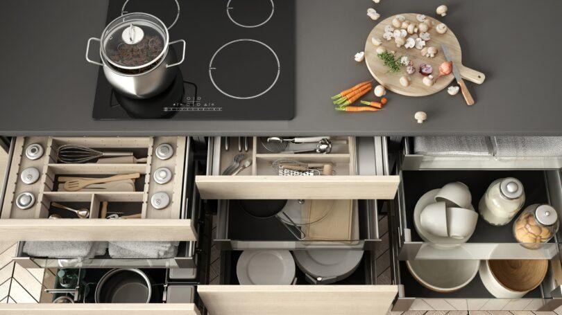 Organized Kitchen Beige Grey Concept Interior Design Utensils Plates Home