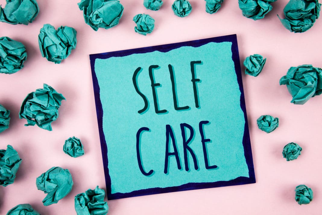 Self Care Teal Paperpink Background