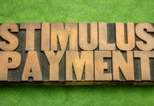 Stimulus Payment Block Letters Green Background