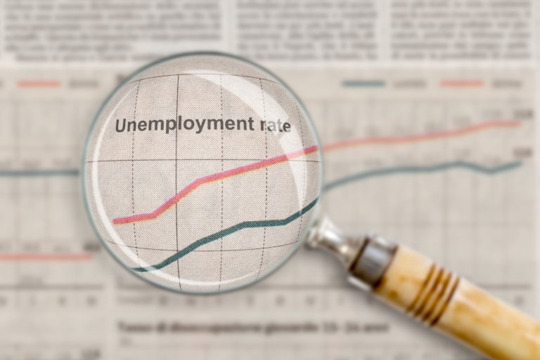 Unemployment Rate Magnifying Glass Research Analyze Newspaper