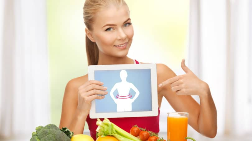 Woman Fitness Model Pointing To App Weightloss Healthy Diet Fresh Produce