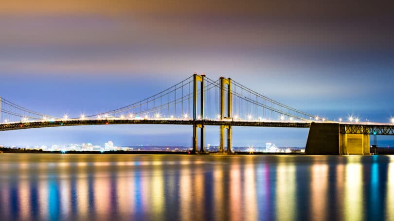 Delaware Memorial Bridge By Night Reflection