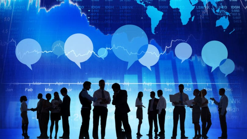 Financial Business Bankers Investors Discussing International Economy Stock Market