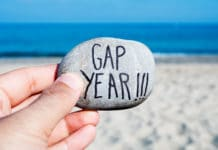 Gap Year Written On Rock Beach Travel