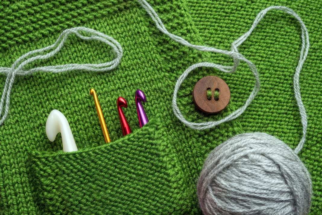 Hand Knit Sweater Crocet Green Cardigan