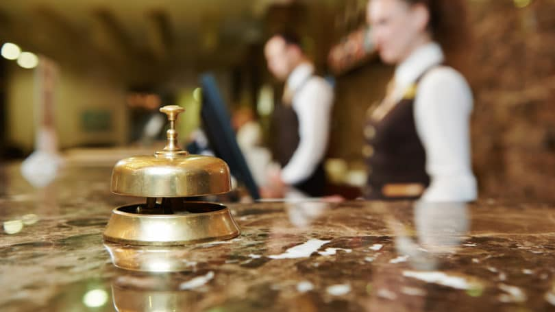 Luxury Hotel Reception Counter Desk Check In Bell
