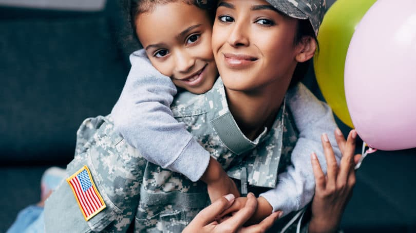 Military Mother Soldier With Daughter Hugging Balloons