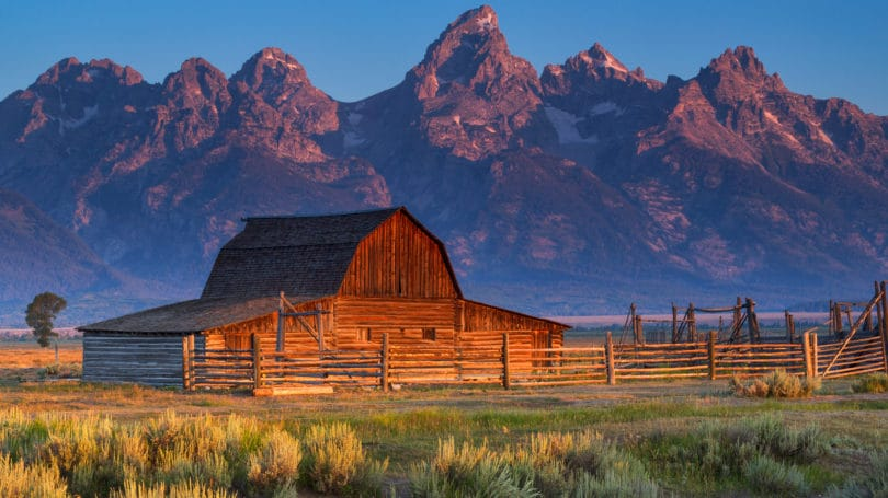 Sunrise Historic Moulton Barn Grand Teton