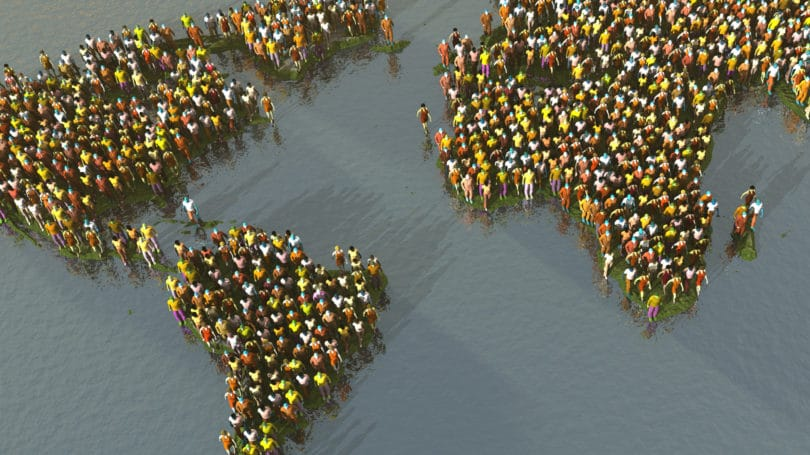World Map Made Out Of People Population