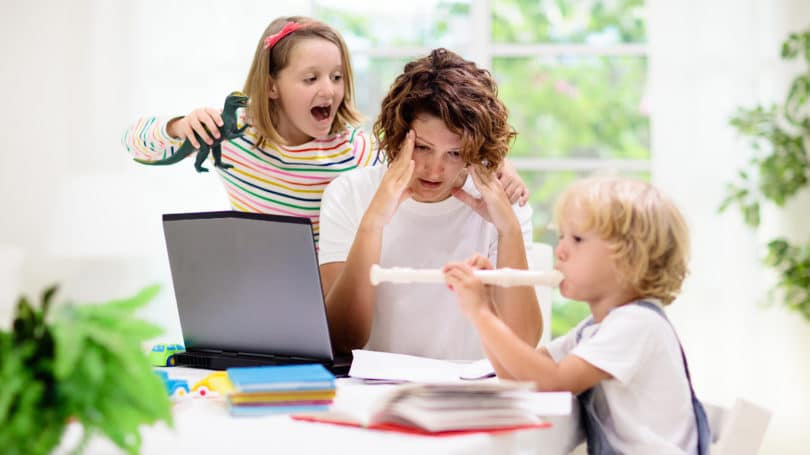 Mom Overwhelmed Homeschooling Kids Quarantine