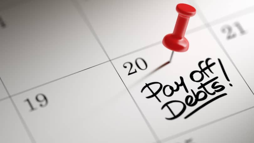Pay Off Debts Calendar Red Push Pin Reminder