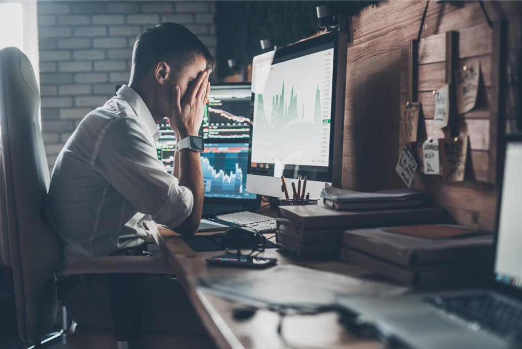 Stressful Day Investor Hedge Fund Stock Market Decline Graph Analysis Office