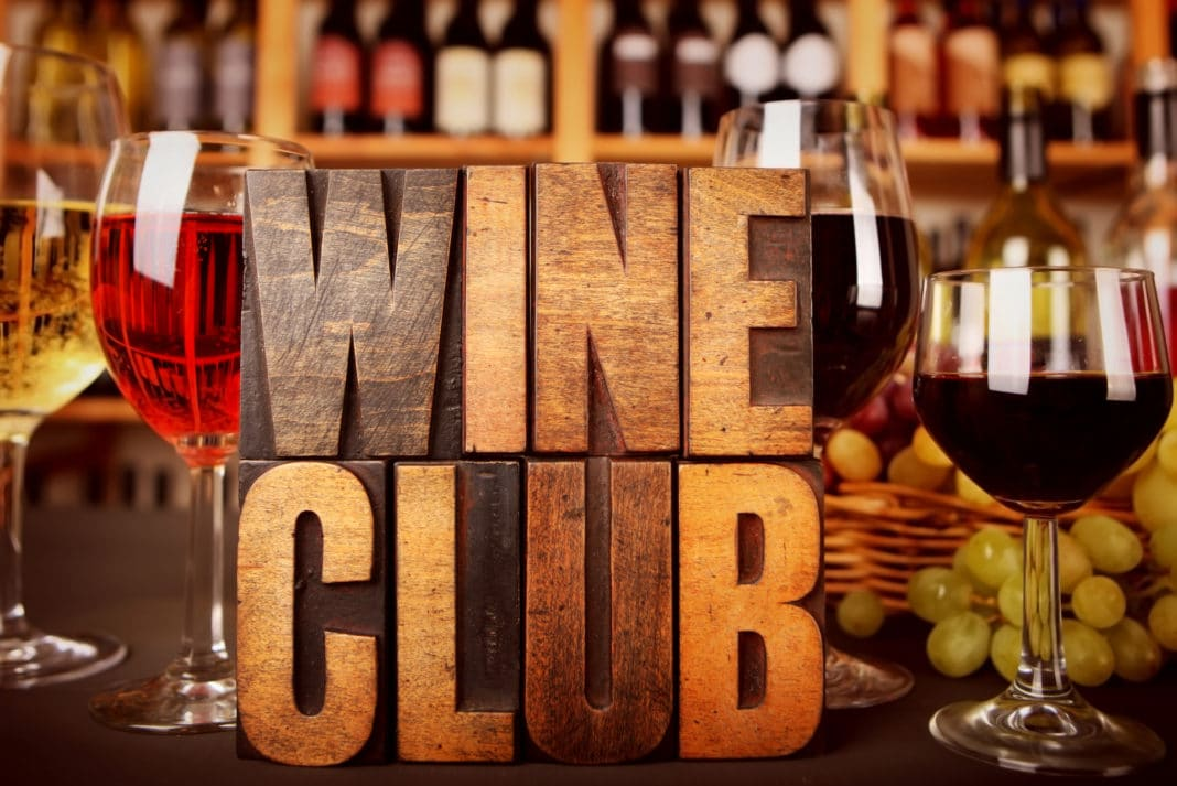 Wine Club Wooden Sign Blocks Red Wine Glasses Bottles