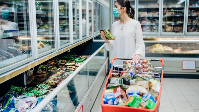 Woman Grocery Shopping In Mask Pandemic Buying