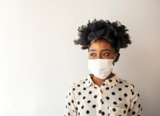 African American Woman Wearing Mask Corona Virus Protection