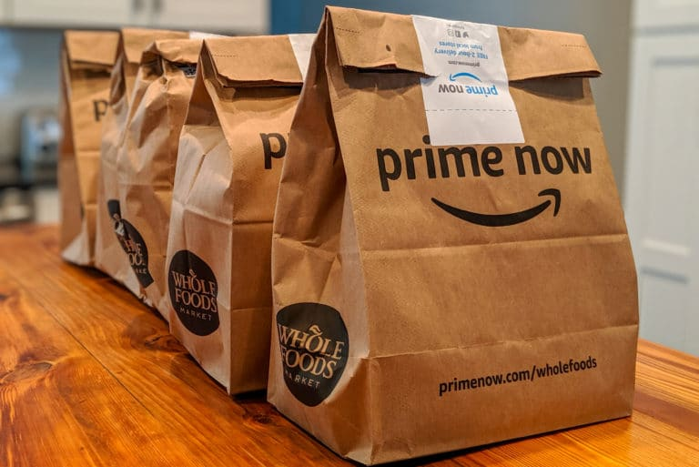 Amazon Prime Now Wholefoods Brown Paper Bag Groceries Delivery