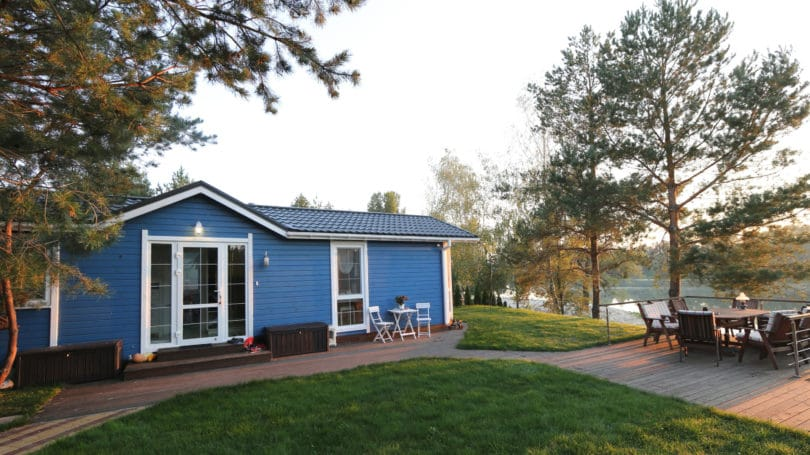 Blue House On A Lake Outdoor Dining Table Chairs Lawn