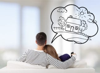 Couple Imagining Dreaming Of A House Home