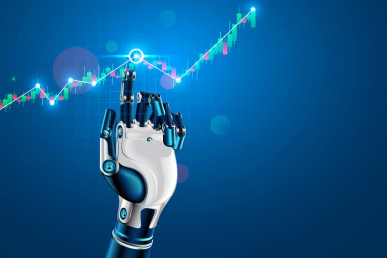 Robot Cybord Tapping Finger Stock Market Investing Graph