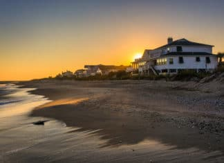 Sunset Over Beach House Ocean Water Front