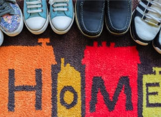 Welcome Home Door Mat Shoes Sneakers Family House
