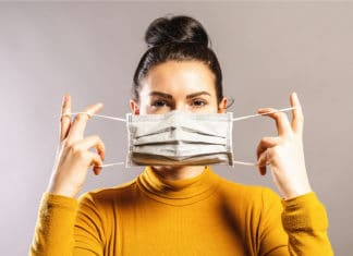 Woman Wearing Mask Anti Virus Protection