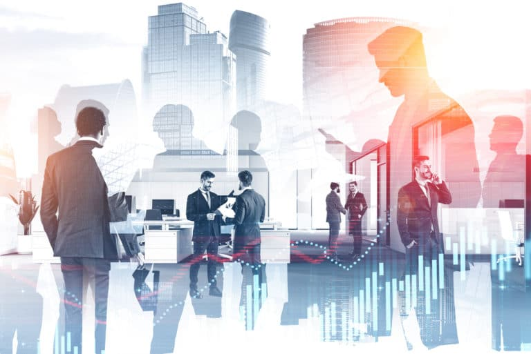Business People Working Together Graphs Investment Stock Cityscape