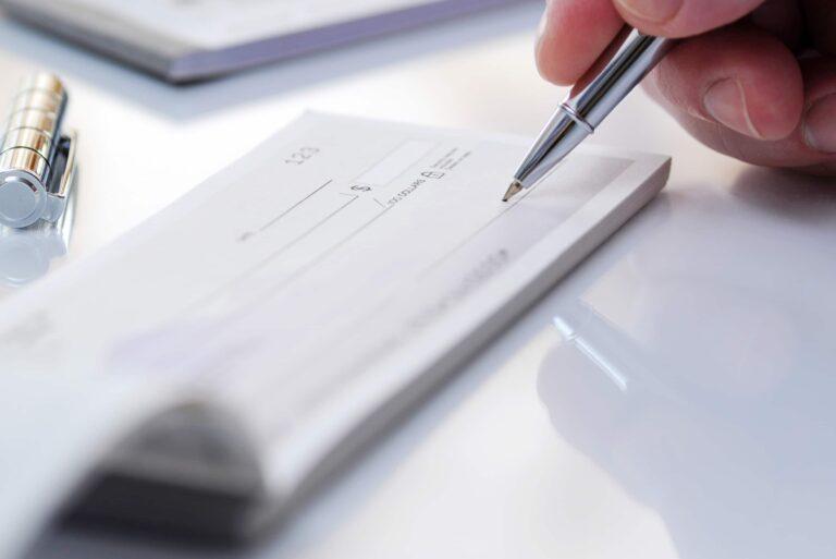 Checking Account Writing Check Pen