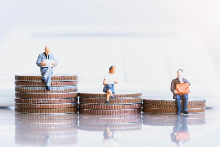 Money Miniature People Elderly Sitting On Coins Descending Retirement