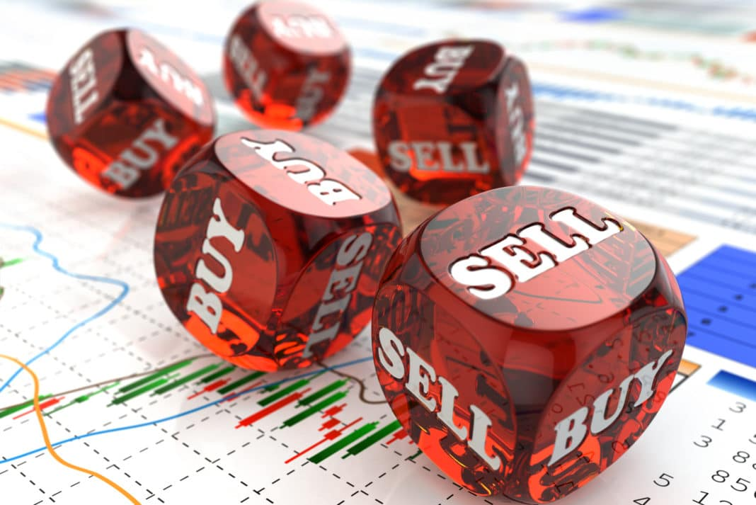 Stock Market Gambling Concept Rolling Dice Buy Sell