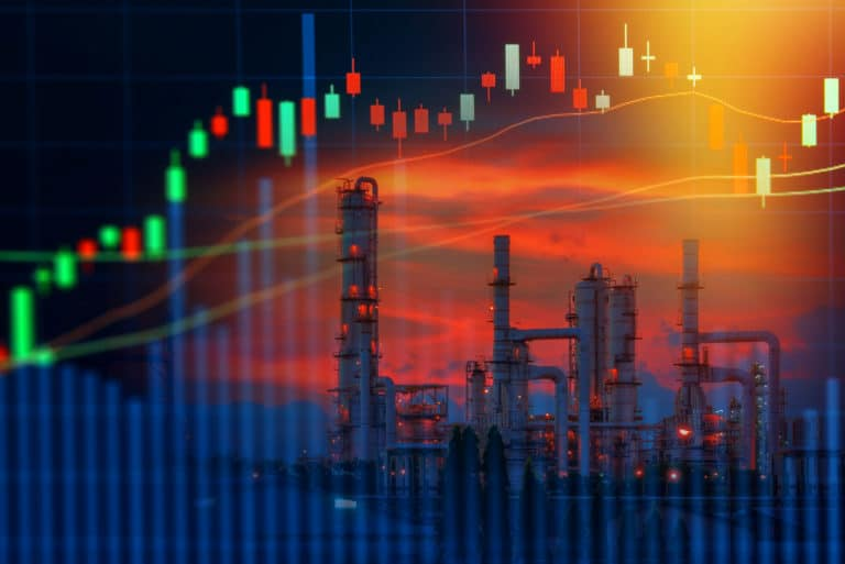 Energy Oil Refinery Industry Stock Investment Graph