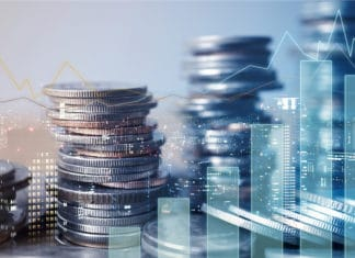 Graph Investing Coins Stacked Cityscape Business Buildings