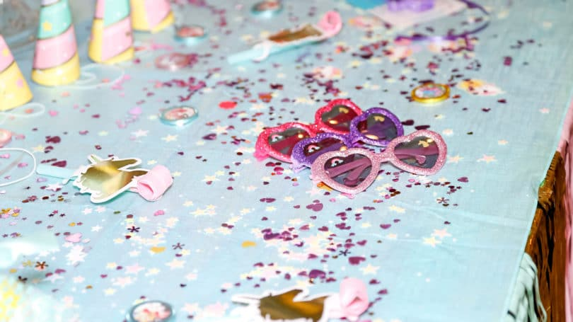 Kids Party Rainbow Pastel Hearts Sunglasses Glitter Unicorn Decoration