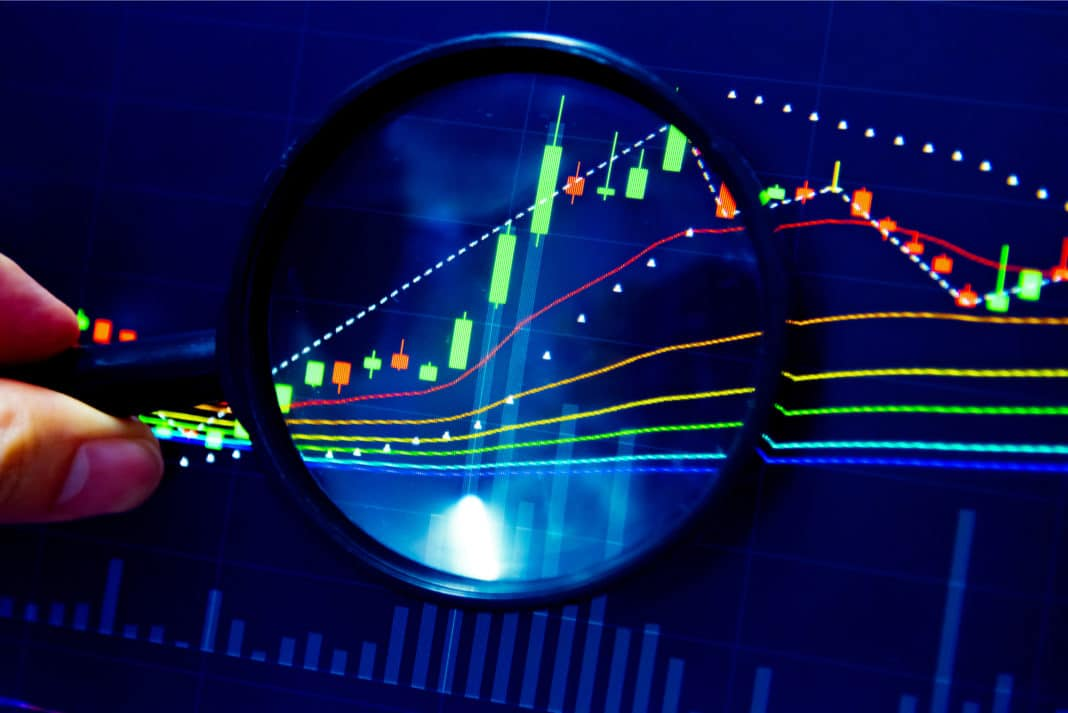 Magnifying Glass Looking At Analyzing Stock Market Data Line Graph