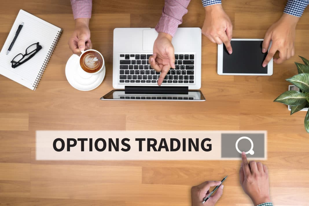Options Trading Laptop Search Bar Research Meeting