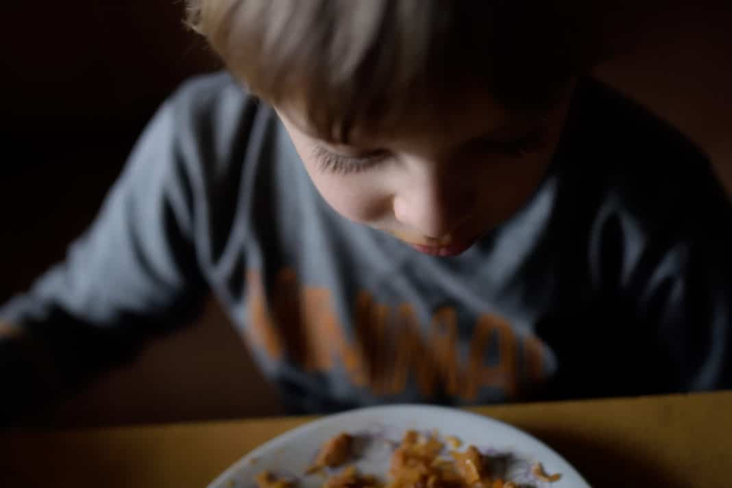 Poor Child Eating Dinner Not Adequate Sad Family