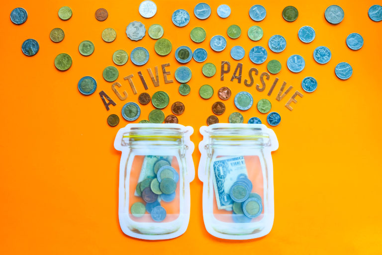 Active Passive Investment Income Coins Jars