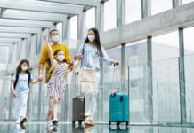 Family Traveling Holiday Covid Masks Airport Luggage