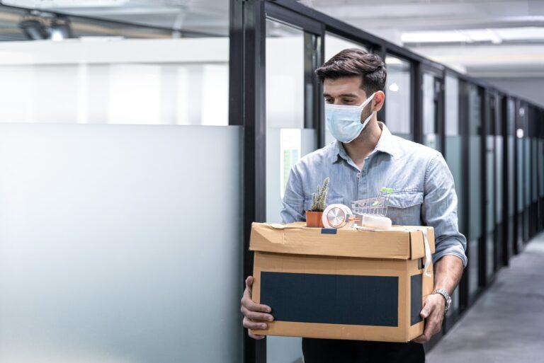 Man Fired Unemployed Mask Box