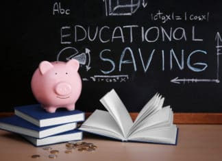 Piggy Bank Books Coins On Blackboard