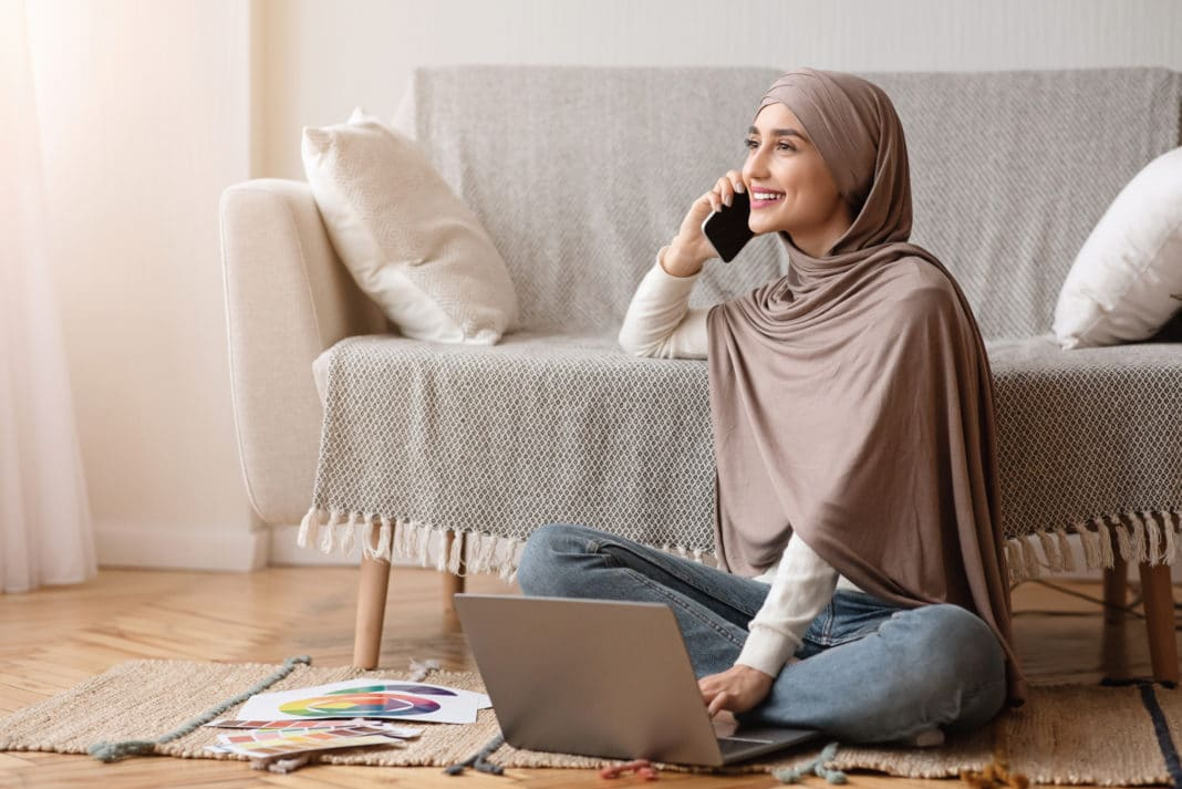 Woman Muslim Working From Home Small Business Art Laptop