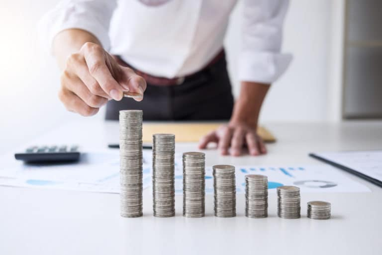 Accountant Banker Calculating Analysis Strategy Building Wealth Coins