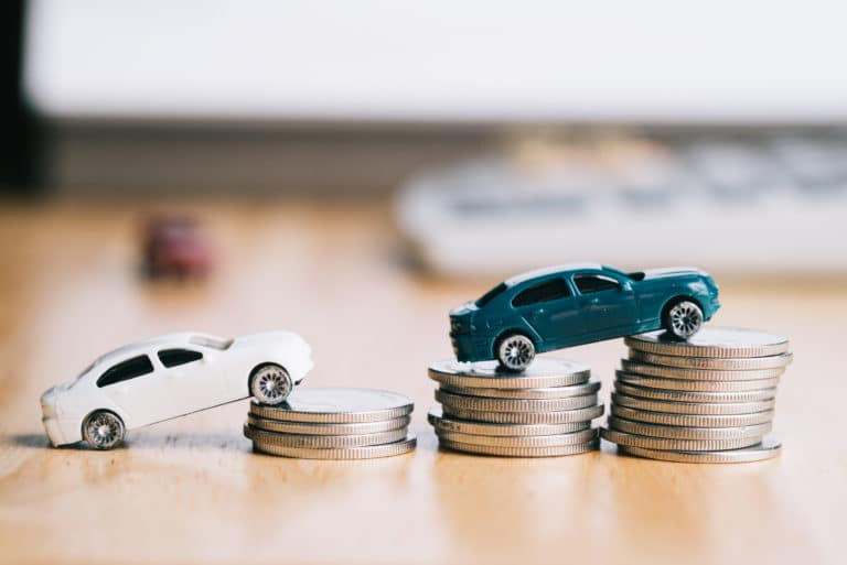 Cars Stacked Coins Saving Money Financing Payment