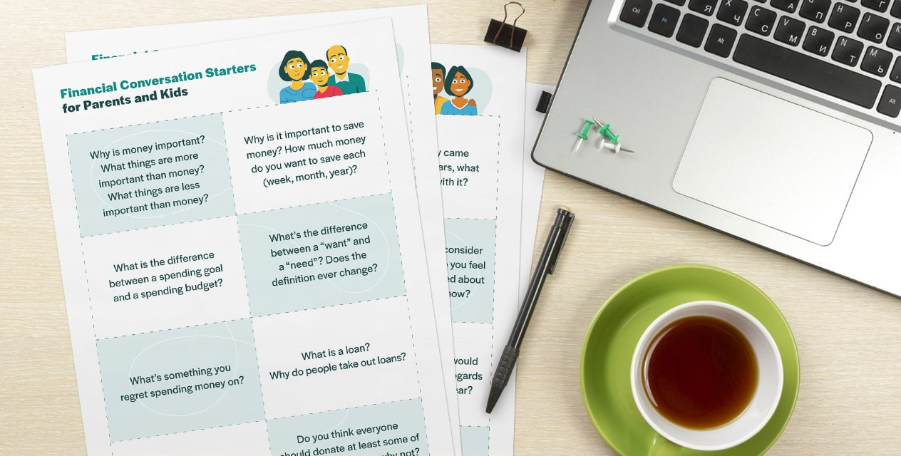 Conversation Starters Printables On Desk With Laptop And Tea